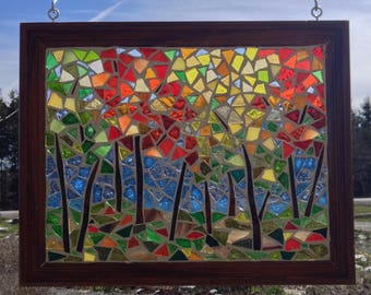 Stained Glass Maple Tree Mosaic Panel - Autumn Landscape Stained Glass Panel - Autumn Leaves Mosaic - Fall Maple Leaves Landscape