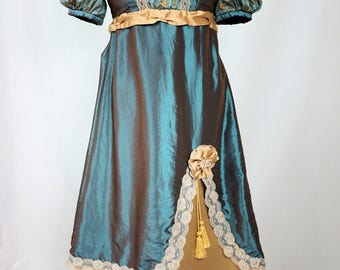 Deluxe Blue and Gold Regency Dress in the Style of Jane Austen and Pride and Prejudice