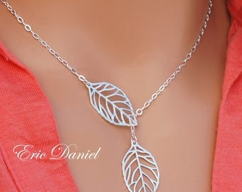 Double Leaf Necklace Sterling Silver, Yellow Gold and Rose Gold, Sideways Leaf Necklace, Gold Leaf Necklace, Leaf Lariat