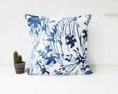 Blue floral cushion cover, simple minimal decor British designer cushion, modern pillow cover, square pillow cover, handmade in the UK