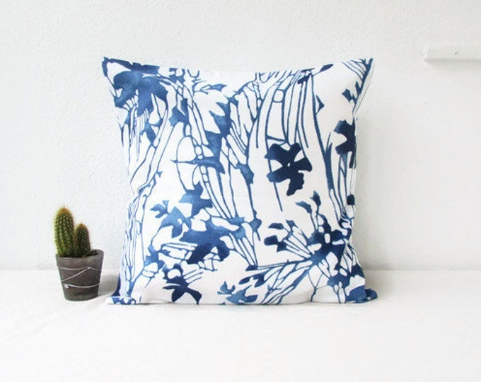 Featured listing image: Blue floral cushion cover, British designer pillow, handmade in the UK