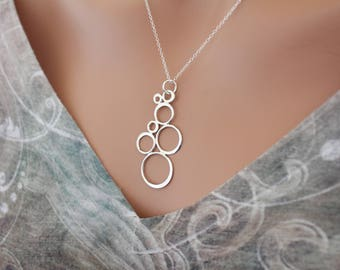 Sterling Silver Bubble Inspired Pendant Necklace, Circles Pendant Necklace, Retro Pendant Necklace, Art Deco Necklace, Cluster of Circles