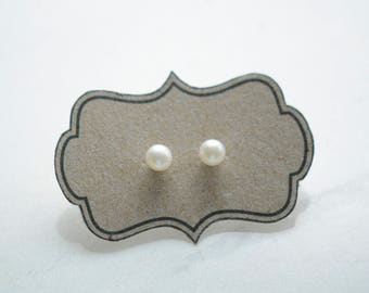 Small Pearl Studs, 5mm pearl earrings with gold filled posts/backs