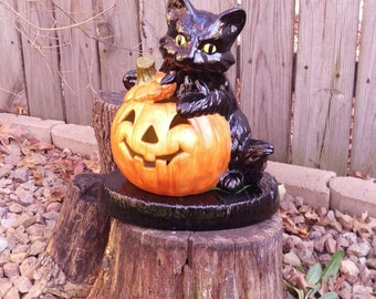 Ceramic Lighted Black Cat and Pumpkin Jack O Lantern Lamp