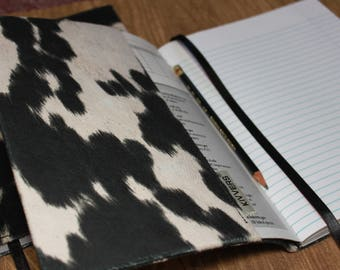 Vegan Faux Leather - COW - Black and White Upholstery Weight Fabric - Fuzzy to the Touch - Book Protector or Composition Notebook Cover