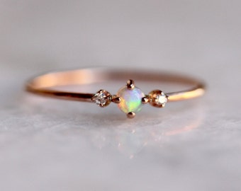 14k Rose Gold Opal Ring, Diamond Opal Ring, Diamond Ring, Natural Opal, Prong Ring, Solid Gold, Dainty Jewelry Stacking Ring, Australian