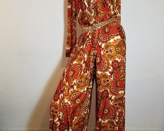 FREE  SHIPPING  1960 Abstract Mod Jumpsuit