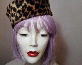 FREE  SHIPPING   1950 Faux Leopard Fur Hat
