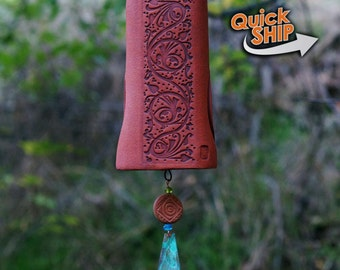 Unique Wind Chime Garden Bell with Vine Carving, Patina Copper Wind Chimes for Your Gardener Friend with Sculptured Bird - IN STOCK!