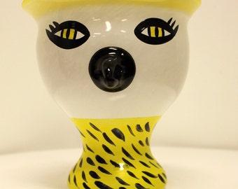Mid Century Modern Glass Bird Face Kosta Vase Sculpture