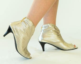 Gold shoes, Gold sandals, Womens sandals, Heeled leather sandals, Peep toe sandals, Designer shoes, Cut out shoes