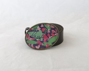 Fabulous Handmade Buckle with Lilly Pulitzer paper