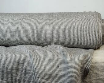 Pure 100% linen fabric 130gsm. Not dyed flax & black pinstripes. Light weight, not sheer, washed-softened. For light clothes.