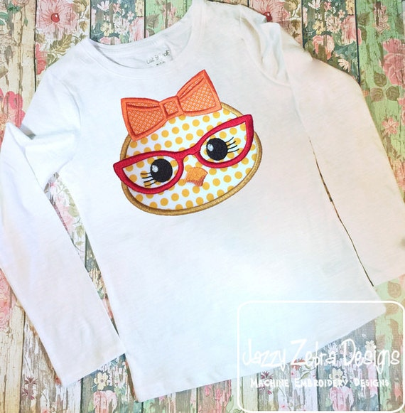 Chick face girl with glasses appliqué embroidery design - Easter appliqué design - chick appliqué design - farm appliqué design - baby chick