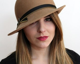 Tan Wool Felt Hat with Zipper Band and Button