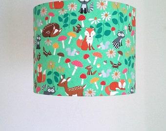 Woodland Lampshade, Woodland Nursery Decor, Fox Lampshade, Forest Animals, Green Lamp Shade, Deer Lamp, Woodland Animals Nursery