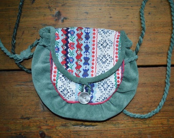 Modern folklore bag. Modern Saami bag with lace and ribbons.