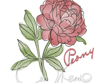 MACHINE EMBROIDERY DESIGN - Peony flower embroidery, Peony embroidery