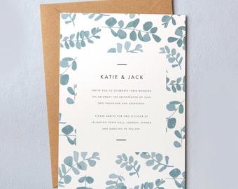 Eucalyptus leaf wedding invites