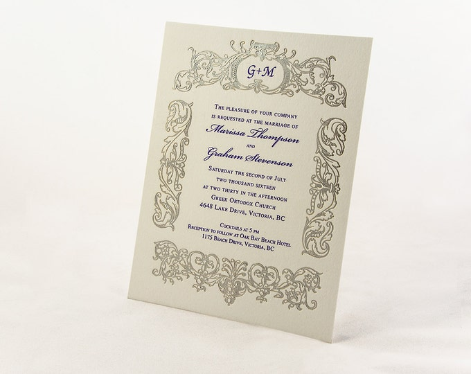 Silver and Purple Wedding Invitation. Monogrammed Wedding Card. Vintage Wedding Invite RETRO BELIEVE Suite. Sample