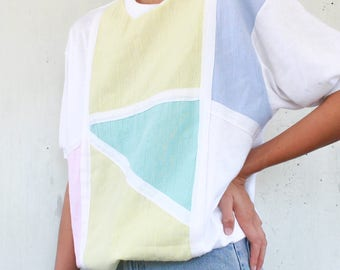 Vintage 80's Color Block Geometric Abstract Textured Short Sleeve Blouse