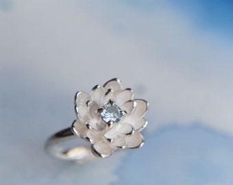 Aquamarine ring, flower engagement ring, proposal ring, blue gemstone ring, lotus ring, sterling silver ring, promise ring, lotus jewelry