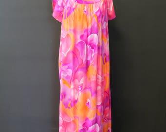 Pink and Orange Hawaiian Floral Pring Maxi Dress-Mu-mu/Lounge Dress