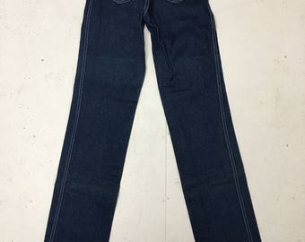 """Rare 80's Deadstock Kenny Rogers Western Collection by Karmen Dark Denim Jeans with """"Lady"""" Embroidered on the Back Pocket Size XS"""