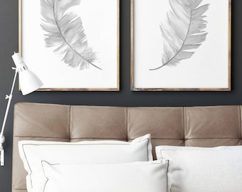 Gray Feather Illustration, Nursery Kids Room Print Charcoal Drawing, Two Feathers set 2 Art Prints, Baby Girl Boy Twins Watercolor Painting