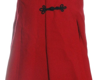 Vintage 1960's Red Hooded Wool Cape - www.brickvintage.com