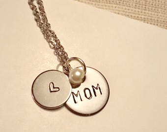 """Hand Stamped """"Mom"""" Necklace"""
