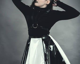 Black and white PVC harness dress. Goth/Punk /Rave/Cyber Punk