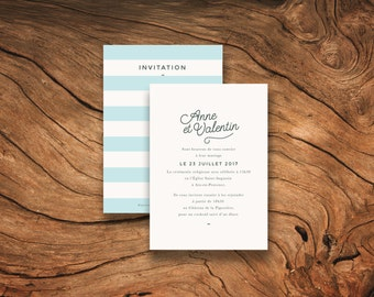 Faire-part mariage - Collection Stripes - Version bleue