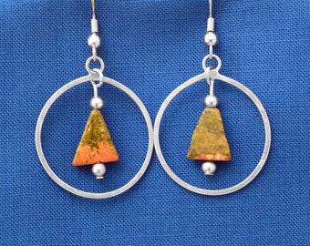 Unakite and sterling earrings