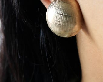 Gold Tone Clip On Earrings - Texture Circle Earrings - Gold Dome Clip On Earrings