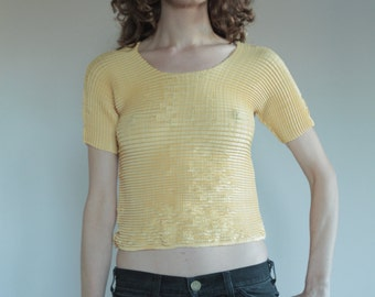 90's Pleats Please imitation pleated avant garde crop top