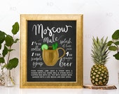 Moscow Mule Chalkboard Cocktail with Recipe - PRINTABLE Wall Art / Cocktails Mixed Drinks Wall Art / Hand Drawn Cocktails / Cocktails Print