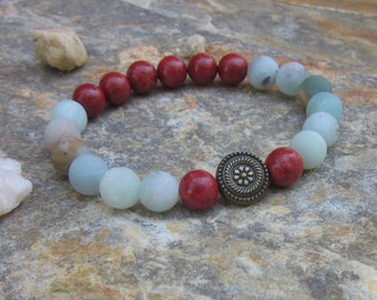 coral beaded bracelet amazonite stone bracelet bohemian bracelet women's boho stretch stacking yoga bracelet mens mala warm earth tones