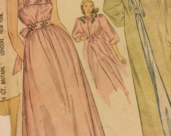 1940s nightgown sewing pattern, negligee, long length, tie back waist, Simplicity, Size 16 Bust 34, complete