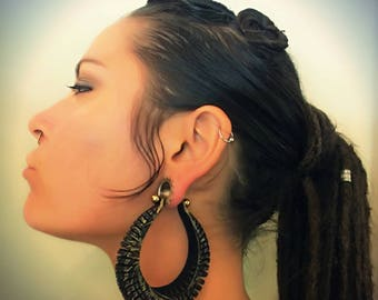 Large Leather Hoop Earrings - Laser Engraved - Textured Hoops - Sexy Big Tunnel Earrings