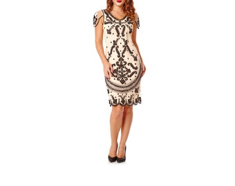 UK8 US4 AUS8 Florence Blush Vintage inspired 1920s Flapper Great Gatsby Charleston Downton Abbey Wedding guest Art deco Dress with Sleeves
