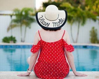 Vacay Mode Floppy Beach Hat, Floppy Hat, Personalized Floppy Hat, Custom Hat, Beach Hat, Sequin Hat, Sequin Floppy Hat