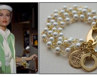 Pearl & Charm Bracelet, Grace Kelly, Rear Window, Multi Strand Pearl Bracelet, Gold Coin Jewelry, Charm Bracelet, Jewelry Trends 2017