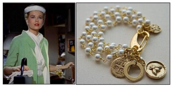 pearl charm bracelet grace kelly rear window bracelet multi