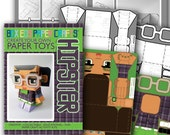 Make your own Hipster paper toy - GLENDA Deep Lilac & Apple - D.I.Y craft activity kit. Great gift for kids and crafters - DIGITAL DOWNLOAD