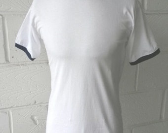 Ringer Short Sleeve T-shirt Top 60s Vintage Style Sportswear 70s Clothing Jersey 60s Contrat Trim Retro