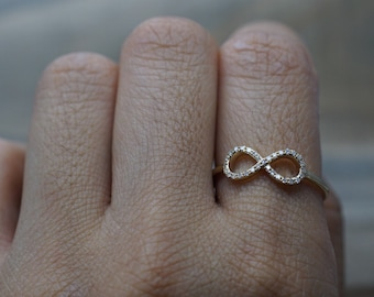 14k Yellow Gold Diamond Pave Polished Infinity Love Symbol Ring Band Promise Anniversary Index Finger