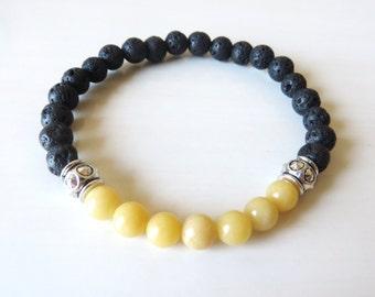 Chakra Bead Yellow Jasper Lava Bead Essential Oil Aromatherapy Yoga Relaxation Therapeutic Stretch Bracelet