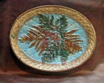 Antique Oval Majolica Platter with plate hangar