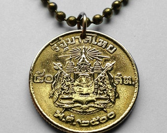 Thailand 50 Satang coin pendant Thai Siam temple necklace Siamese Coat of arms 3 headed elephant Airavata temple Indochinese n000562